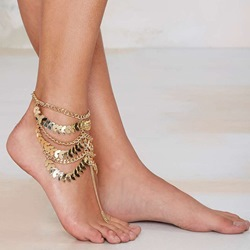 Shoespie Golden Metal Thong Anklet