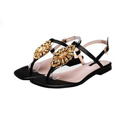 Shoespie Sunflower Rhinestone Thong Flat Sandals