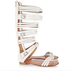 Shoespie Buckle Knee High Genuine Leather Cut-out Flat Gladiator Sandals