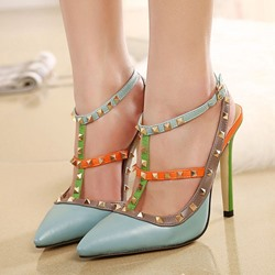 Shoespie Contrast Color Rivets Stiletto Heels