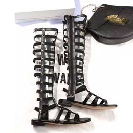 Shoespie Rivet Solid Color Knee High Genuine Leather Flat Gladiator Sandals