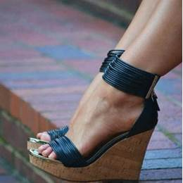 Fashionable PU Ankle Strap Wedge Sandals