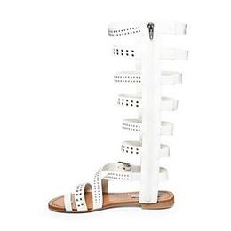 Shoespie Knee High Genuine Leather Cut-out Flat Gladiator Sandals