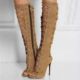 Shoespie Lace up Peep toe Stiletto Heel Knee High Boots