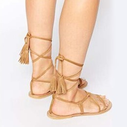 Shoespie Lace Up Flat Gladiator Sandals