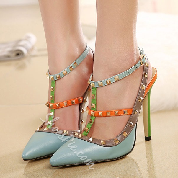 Shoespie Contrast Color Rivets Stiletto Heels Shoespie