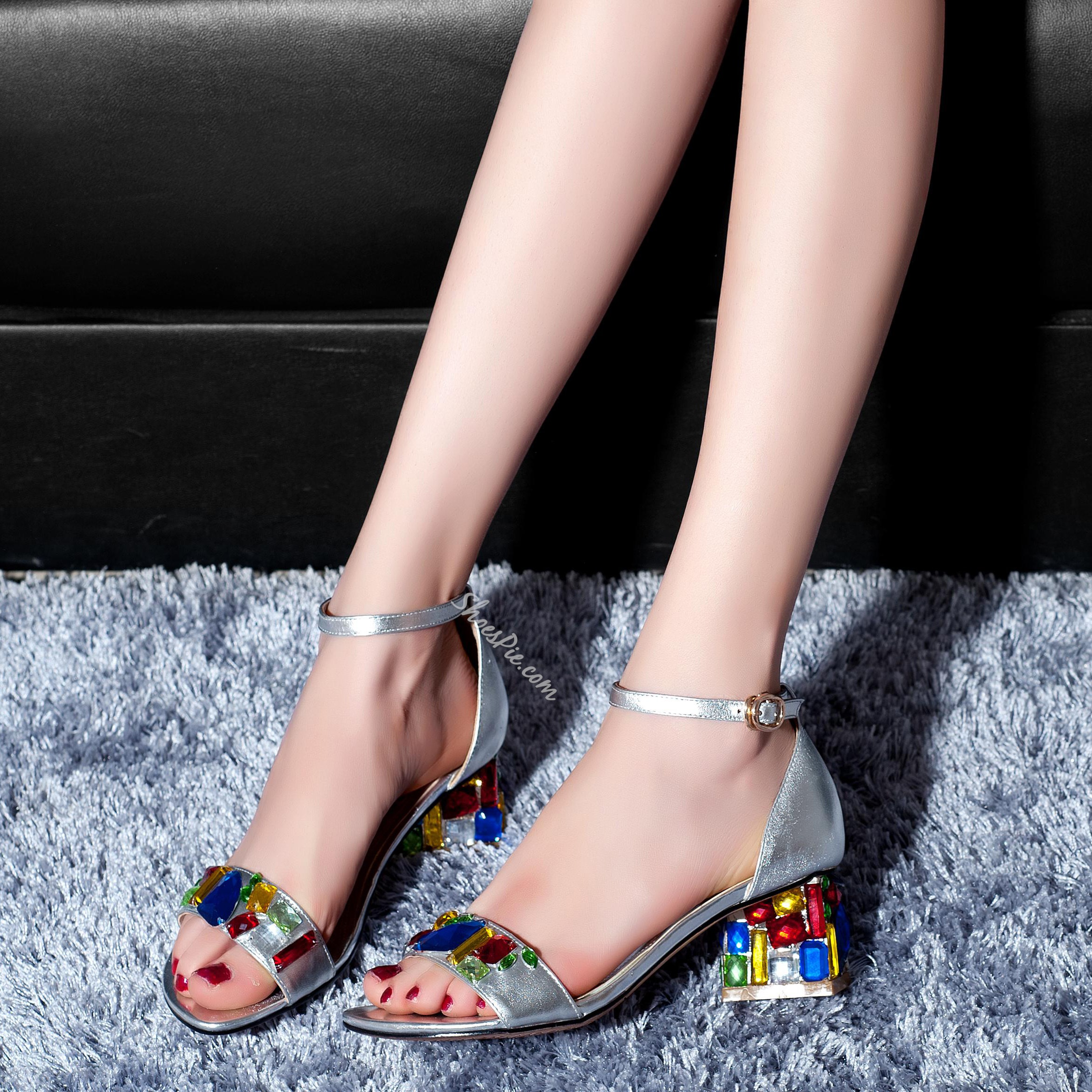 Shoespie Color Rhinestone Flat Sandals
