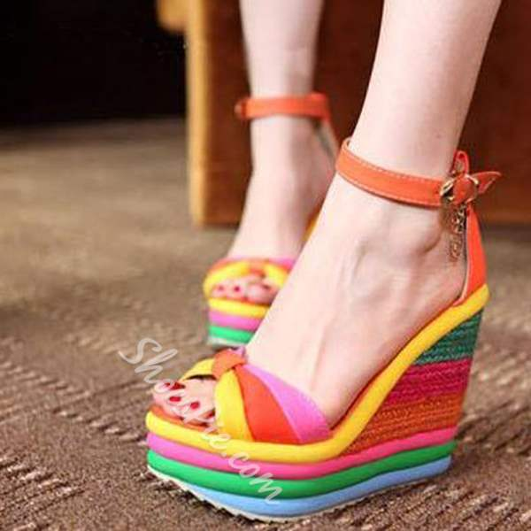 Shoespie Rainbow Peep Toe Wedge Sandals