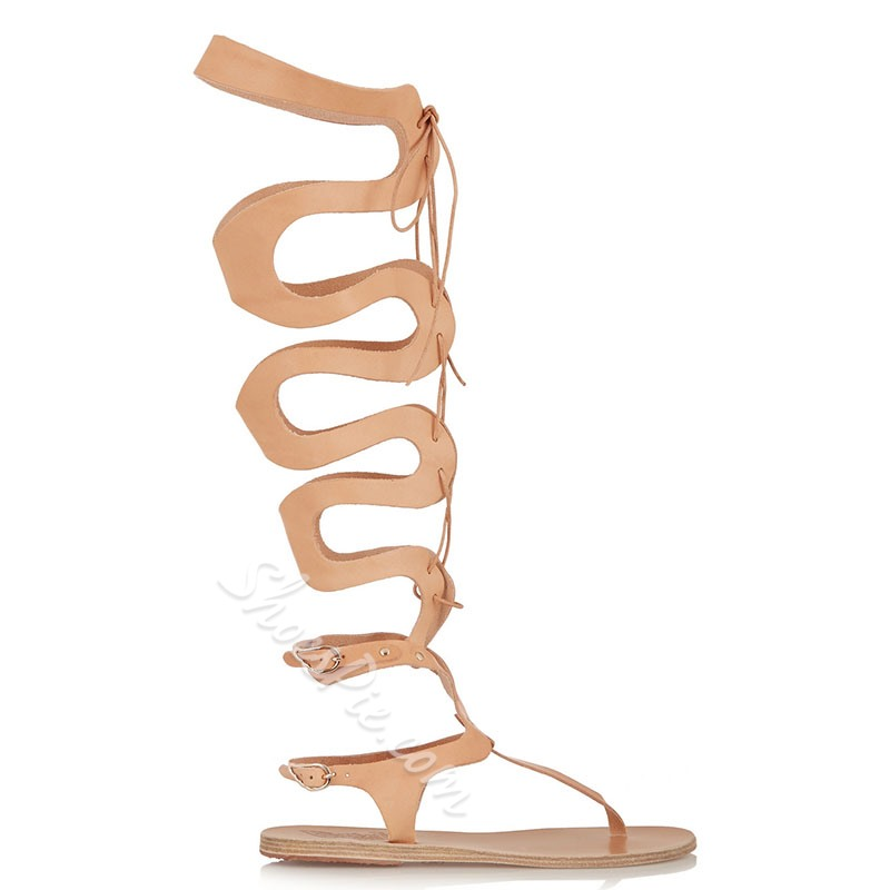 Shoespie Cut Out Lace up Flat Sandals