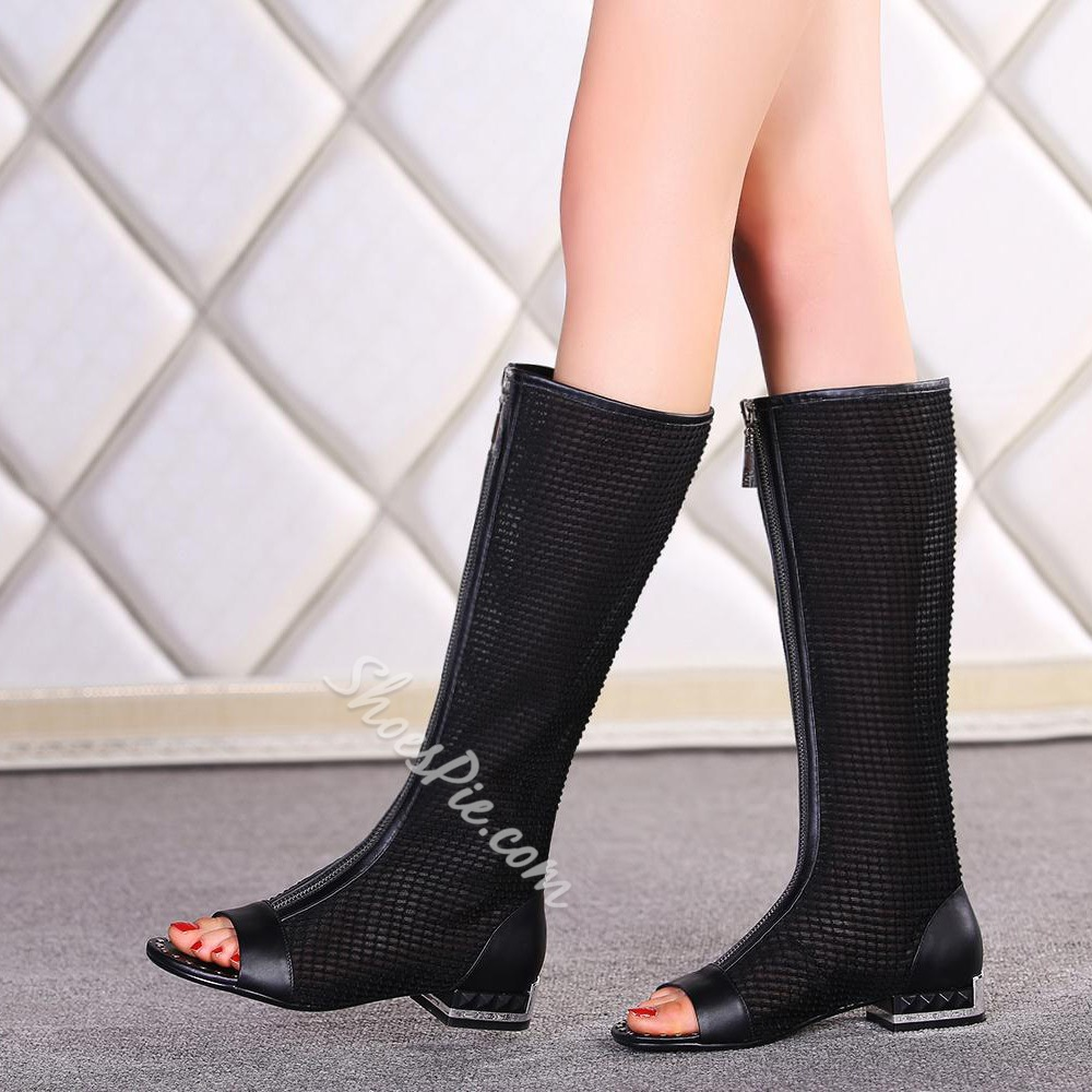 Shoespie Mesh Zipper Knee High Boots