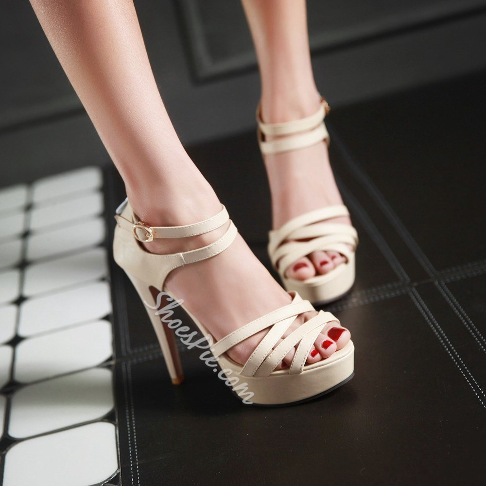 Shoespie Solid Color Platform Sandals