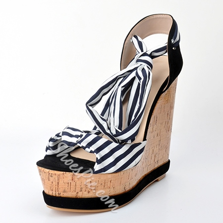 Shoespie Stripe Wrap Wedge Sandals