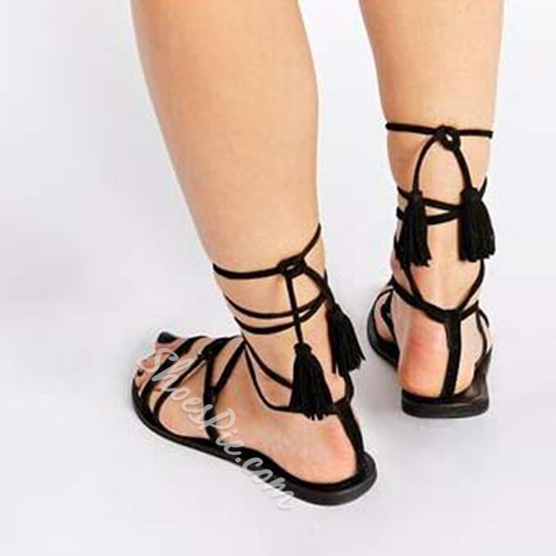 Shoespie Lace Up Fringe Flat Gladiator Sandals