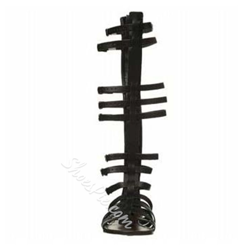 Shoespie Solid Color Knee High Genuine Leather Flat Gladiator Sandals