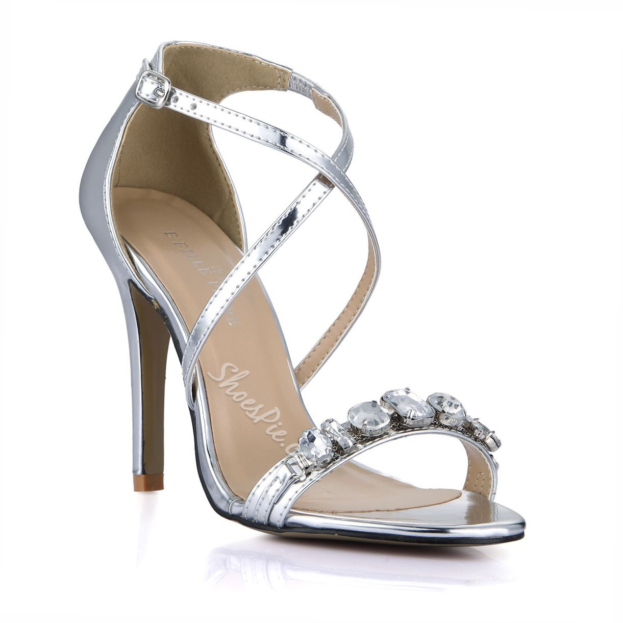 Shoespie Rhinestone Ankle Cross Wrap Dress Sandals