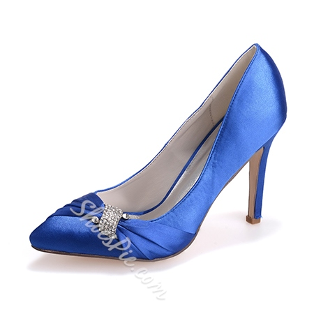 Shoespie Satin Rhinestone Stiletto Heels