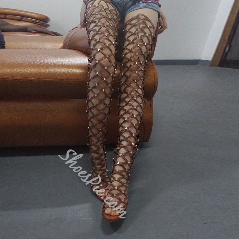 30c0b3a8bdc4 Shoespie Cut Out Over Knee High Gladiator Sandals- Shoespie.com