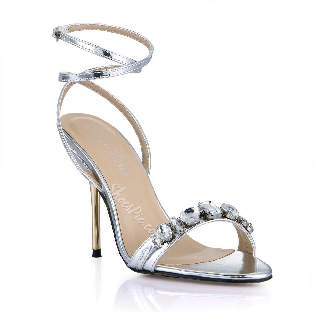 Shoespie Rhinestone Ankle Wrap Dress Sandals