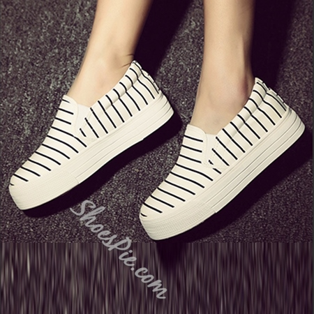 Shoespie Stripe Color Flat Canvas Shoes
