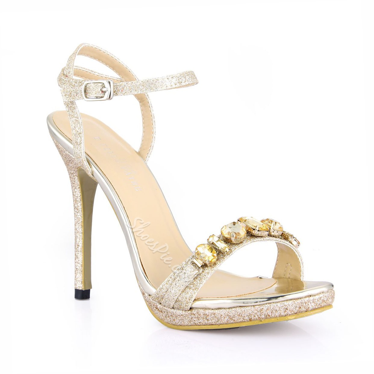 Shoespie Sequined Rhinestone Ankle Wrap Dress Sandals