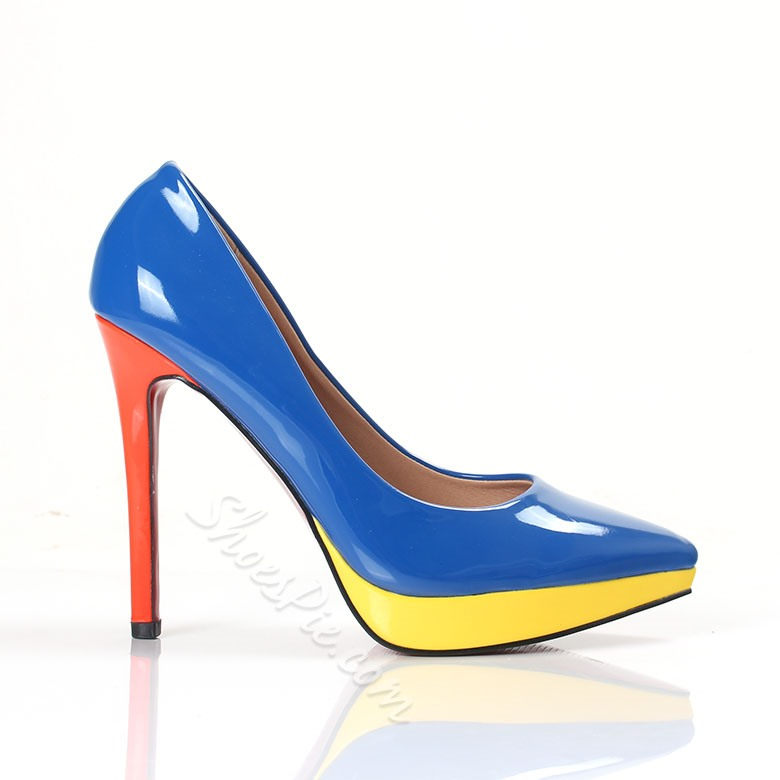 Shoespie Candy Color Pointed-toe Platform Heels