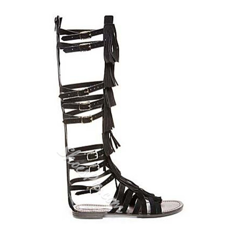 Shoespie Solid Color Knee High Genuine Leather Tassel Flat Gladiator Sandals
