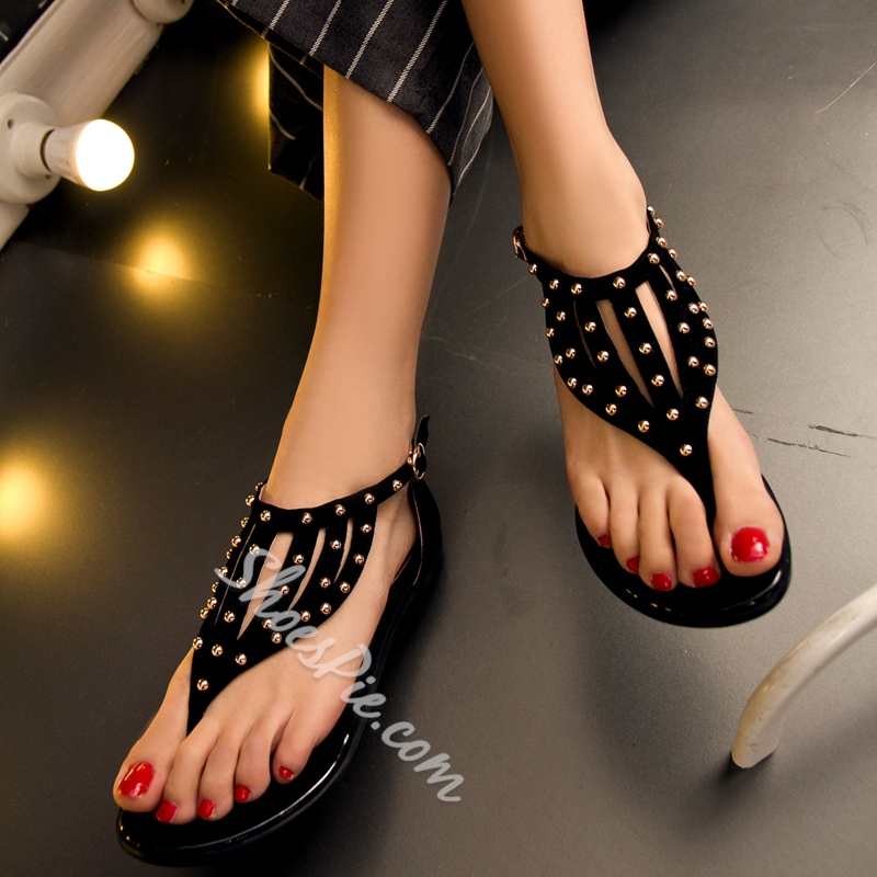 Shoespie Rivet Thong Flat Sandals
