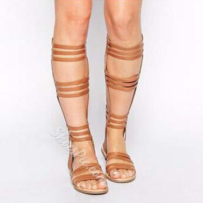 Shoespie Cut Out Flat Gladiator Sandals