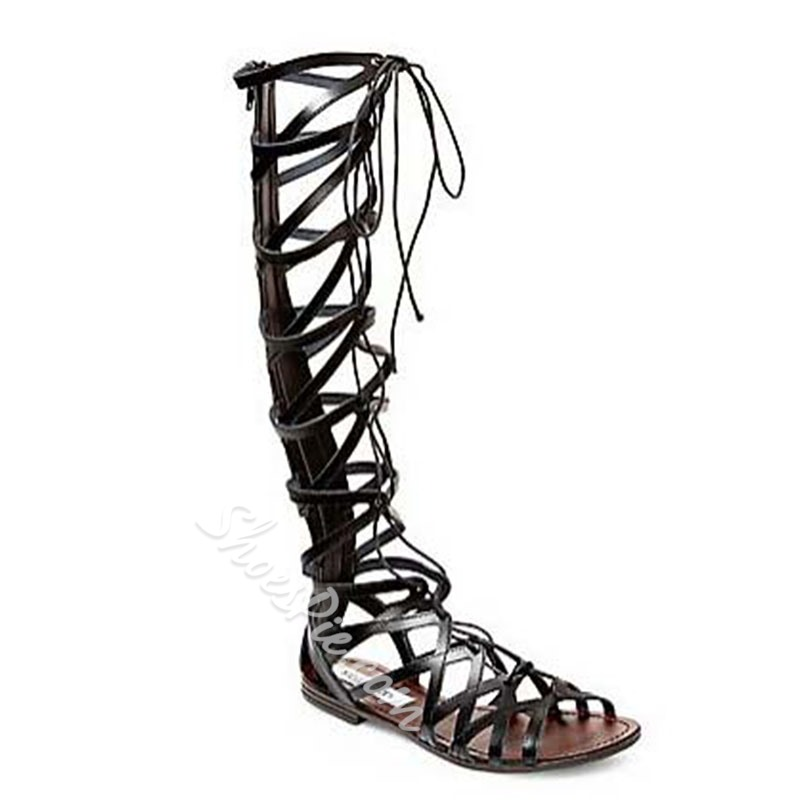 Shoespie Knee High Genuine Leather Lace-up Flat Gladiator Sandals
