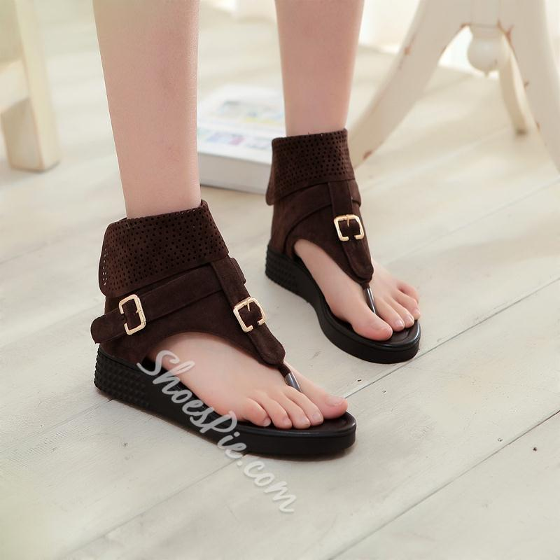 Shoespie Buckles Thong Flat Sandals