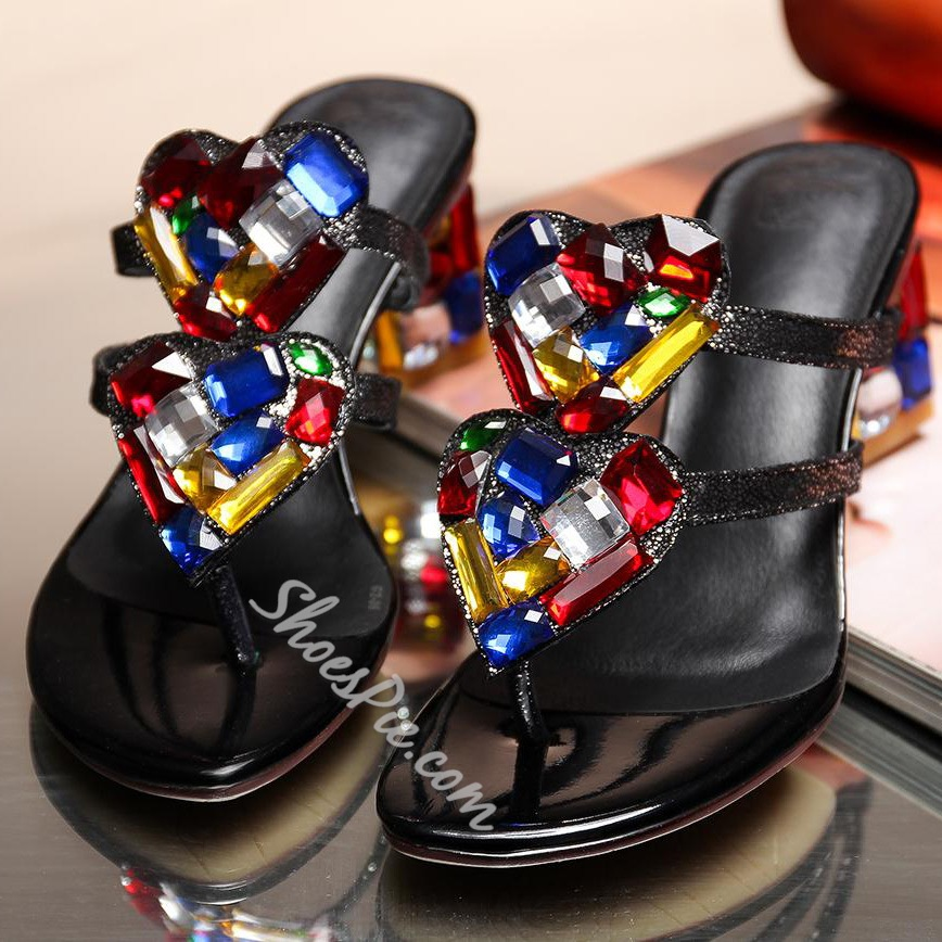 Shoespie Color Rhinestone Sequined Chunky Heel Slippers