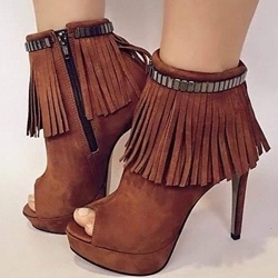 Shoespie Tassels Peep-toe Ankle Wrap