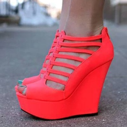 Shoespie Cut-out Zipper Wedge Sandals