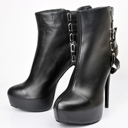Shoespie Black Buckles Straps Stiletto Heel Ankle Boots