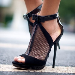 Shoespie Solid Color Mesh Dress Sandals