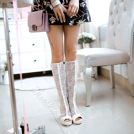 Shoespie Peep Toe Chunky Heel Knee High Boots