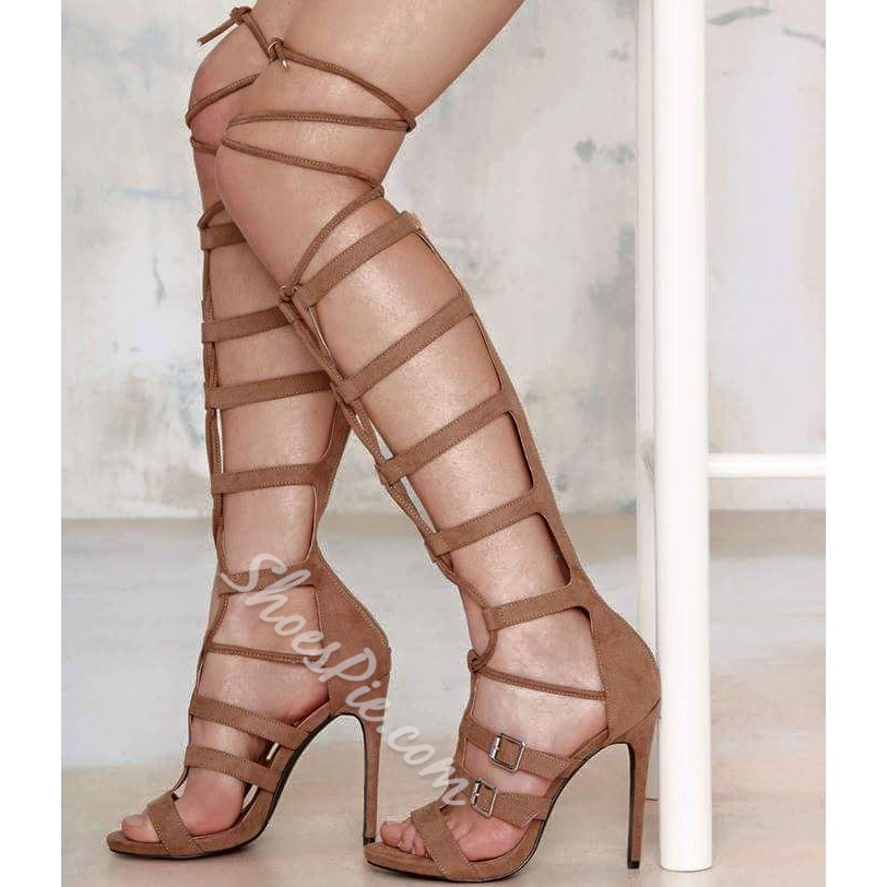 Shoespie Wrap Knee High Buckle Zipper Gladiator Sandals
