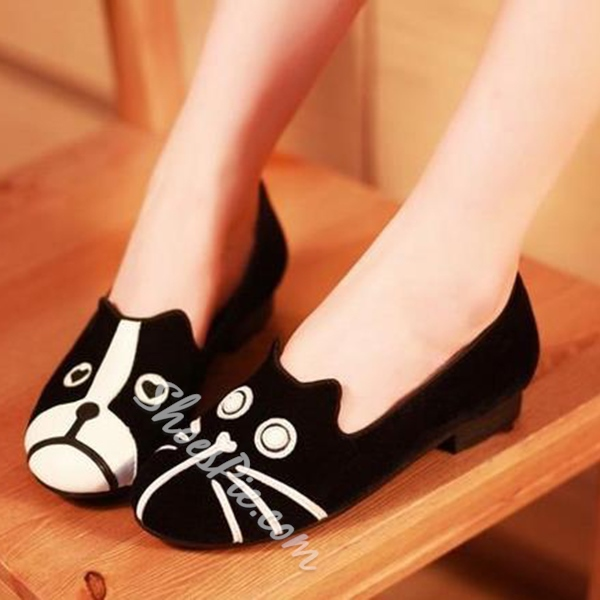 Shoespie Cat Pattern Loafers