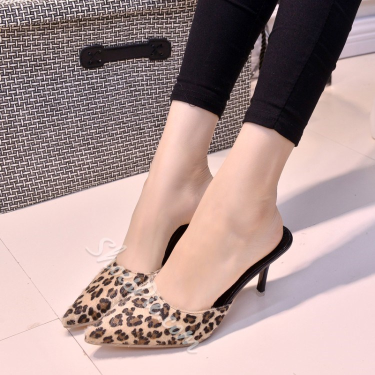 Shoespie Leopard Suede Point Toe Slippers