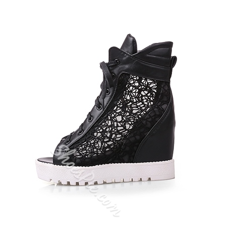 Shoespie Lace Peep toe Ankle Sneaker