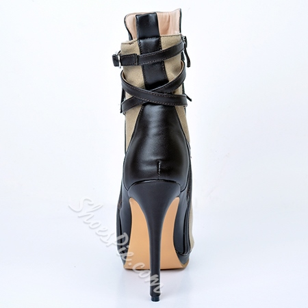 Shoespie Side Zipper Lace-up Peep-toe Ankle Boots