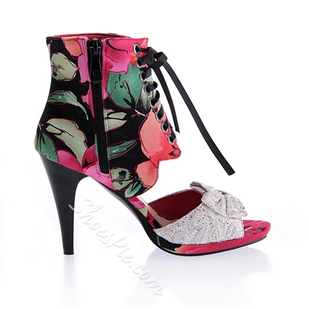 Shoespie Bowtie Flower Pattern Lace-up Zipper Dress Sandals