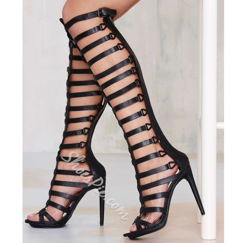 Shoespie Genuine Leather Knee High Zipper Gladiator Sandals