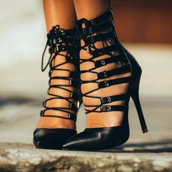 Shoespie Black Lace-up Pointed-toe Stiletto Heels