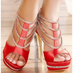 Shoespie Rhinestone Decorated Platform Sandals