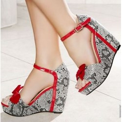 Shoespie Bowtie Snakeskin Wedge Sandals