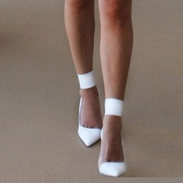 Shoespie Ankle Strap Pointed-toe White Stiletto Heels
