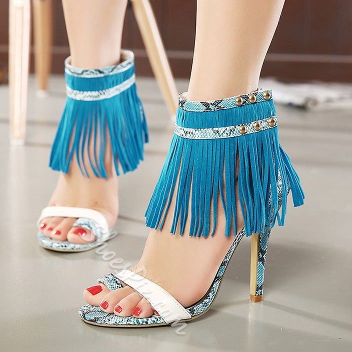 Shoespie Snakeskin Tassel Toe Ring Dress Sandals