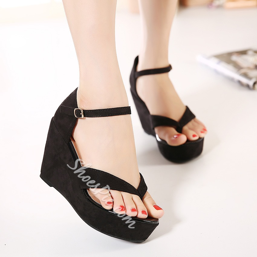 Shoespie Solid Color Thong Wedge Sandals