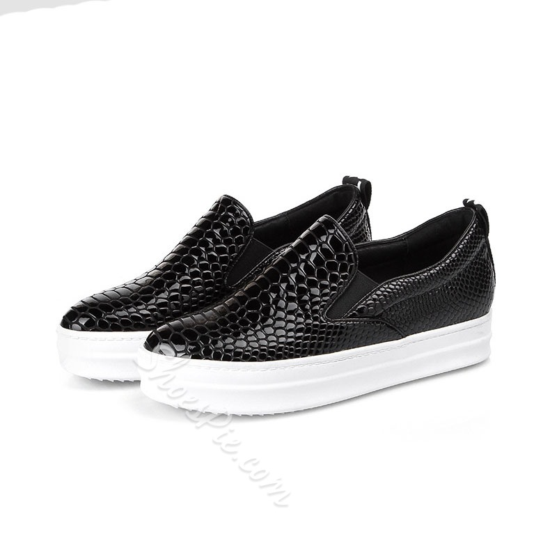 Shoespie Crocodile Texture Loafers